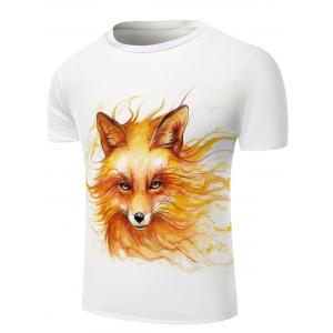 White Round Neck Cool Wolf Head Pattern Slimming Short Sleeves 3D T-Shirt For Men -