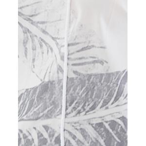 Hollow Out Lace Up Leaf Print Blouse - WHITE M