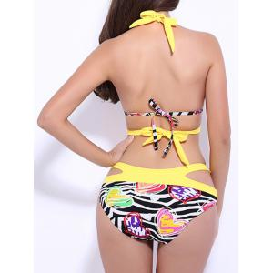 Halter Plunge Color Block Print Cutout Bikini - YELLOW 3XL