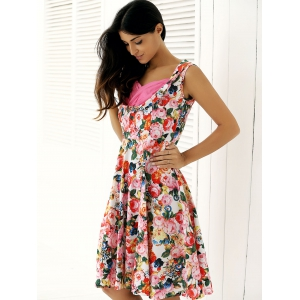 Retro Style High-Waisted Floral Print Dress -