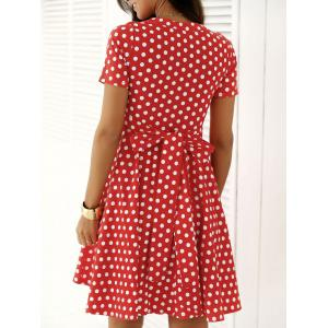 Vintage Single Breasted Polka Dot Print Dress -