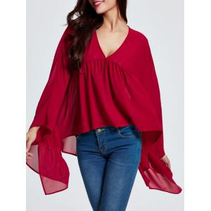 Asymmetric Ruched Smock Blouse -