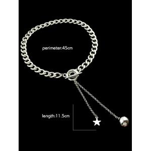 Alloy Pentagram Ball Chains Necklace - SILVER