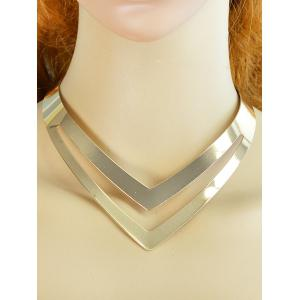 V Shape Hollow Out Necklace - GOLDEN
