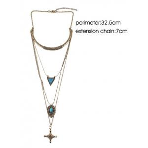 Faux Turquoise Triangle Cross Sweater Chain -