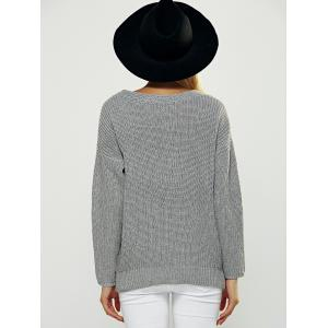 Fitting Wrap Plunging Neck Long Sleeve Sweater - GRAY ONE SIZE