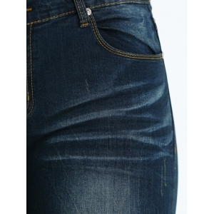 Plus Size Frayed Crease Pencil Jeans -