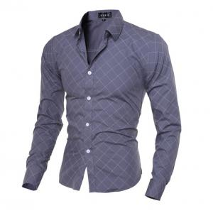 Grid Long Sleeve Button Up Shirt For Men -