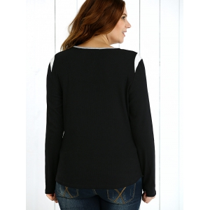 Plus Size Zipper Embellished Pullover -