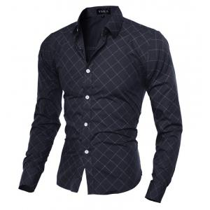 Grid Long Sleeve Button Up Shirt For Men - BLACK 2XL