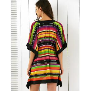 Butterfly Sleeves High Waist Striped Dress - COLORFUL L