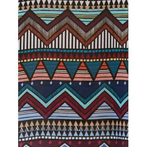 Geometric Print Asymmetric Side Slit Chiffon Aztec Print Dress - COLORMIX L