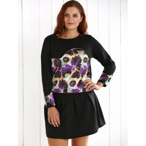 Plus Size Floral Sweatshirt and Mini Skirt -