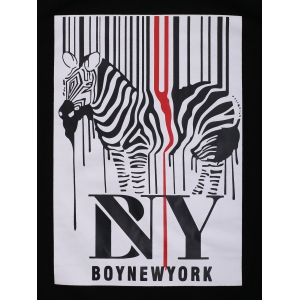 BoyNewYork Zebra Stripes Pattern T-Shirt - BLACK XL