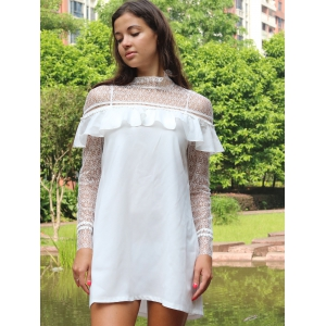 Lace Yoke and Sleeves Shift Dress - WHITE XL