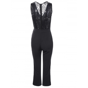 Plunging Neck Bowknot Lace Jumpsuit -