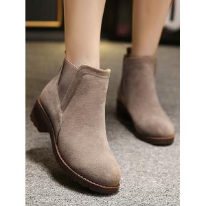 Elastic Band Round Toe Flock Ankle Boots - CAMEL 39