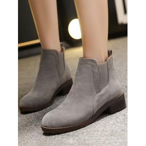 Elastic Band Round Toe Flock Ankle Boots -