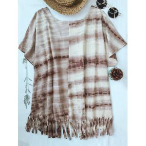 Cute Round Neck Batwing Sleeve Tie-Dyed Tassels T-Shirt For Women -
