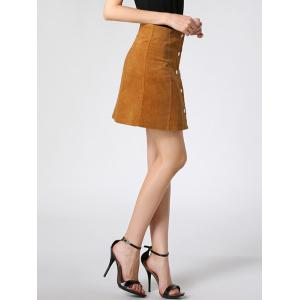 High Waist Buttoned Corduroy Skirt - CAMEL M