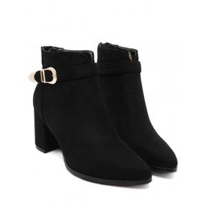 Zipper Buckle Flock Ankle Boots - BLACK 39