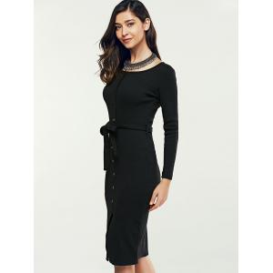 Single-Breasted Long Sleeve Sheath Sweater Dress -