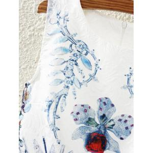 Retro Leaf Floral Print Sleeveless Fit and Flare Dress -