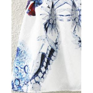 Retro Leaf Floral Print Sleeveless Fit and Flare Dress - WHITE XL