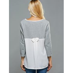 Chiffon Panel Bowknot T-Shirt -