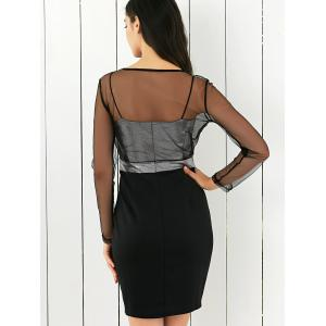 Mesh Spliced See-Through Bodycon Dress -