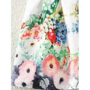 Retro Castle Floral Print Sleeveless Fit and Flare Dress -
