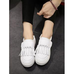 Color Splicing Fringe PU Leather Flat Shoes -
