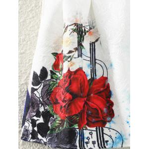 Retro Guitar Rose Print Sleeveless Fit and Flare Dress - WHITE XL