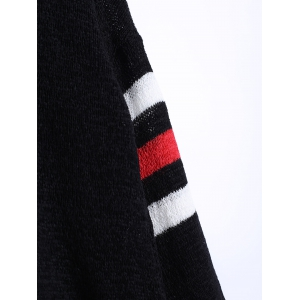 Loose Fitting Striped Sweater - BLACK ONE SIZE