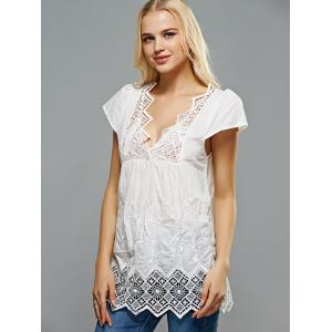 Crochet Spliced Openwork Embroidered Blouse -