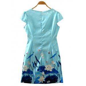 Retro Cape Sleeve Lotus Flower Cheongsam Dress - LAKE BLUE S