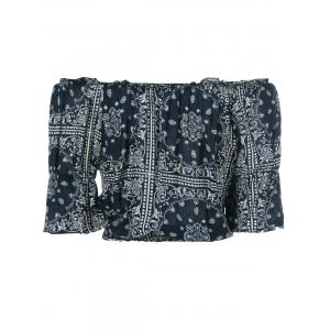 Ethnic Style Off-The-Shoulder Blouse - BLACK ONE SIZE(FIT SIZE XS TO M)