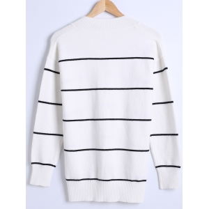 Loose-Fitted Thick Striped Sweater -