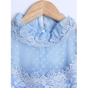 Guipure See-Through Lace Spliced Blouse -