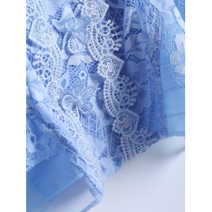 Guipure See-Through Lace Spliced Blouse - AZURE 2XL