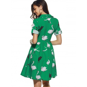 Shirt Collar Swan Pattern Buttoned Dress -