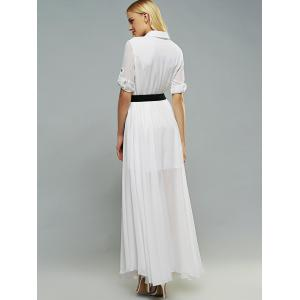 Belted Swing Shirt Collar 3/4 Sleeve Maxi Shirt Dress - WHITE XL