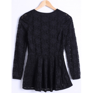Waisted Guipure Openwork Lace Blouse - BLACK 3XL