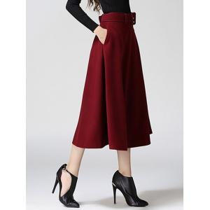 High Waist Pure Color Tweed Midi Skirt - WINE RED XL