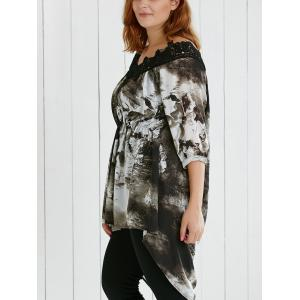 Plus Size Lace Spliced Asymmetric Ink Painting Blouse -
