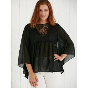 Plus Size Lace Spliced See-Through Blouse - BLACK 5XL