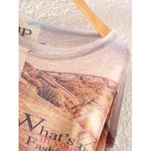Letter Tower Print Loose Knitwear -
