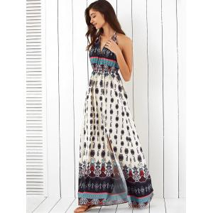 Halter Tribal Print Backless Maxi Dress -