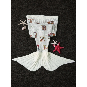Warmth Colorful Letters Pattern Knitting Mermaid Shape Blanket - WHITE