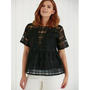 Plus Size Hollow Out Short Sleeve Blouse -